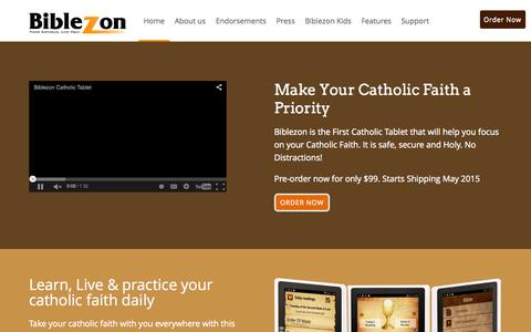 Screenshot of Home Page biblezon.com - HomeBiblezon - captured Sept. 12, 2015
