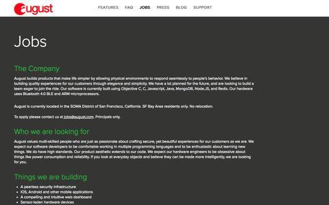 Screenshot of Jobs Page august.com - August Smart Lock - Jobs - captured Oct. 31, 2014