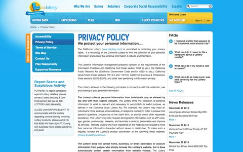 Screenshot of Privacy Page calottery.com - Privacy Policy - captured Nov. 24, 2015
