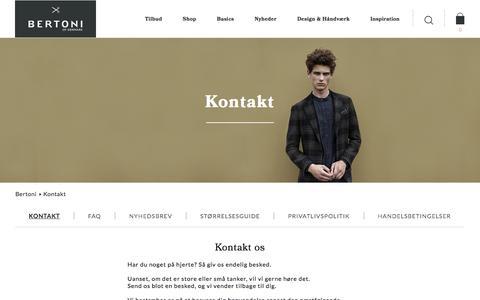 Screenshot of Support Page bertoni.com - Bertoni of Denmark | Kontakt os - captured Nov. 22, 2016