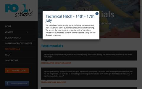 Screenshot of Testimonials Page poolschools.co.uk - Testimonials – PoolsSchools - captured July 20, 2018