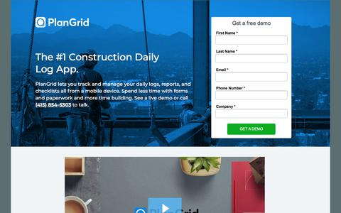 Screenshot of Landing Page plangrid.com - Construction Daily Report  - PlanGrid - captured May 28, 2018