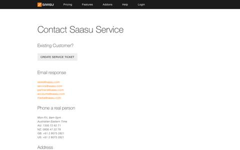 Screenshot of Contact Page saasu.com - Saasu - Online Accounting Software - Contact - captured July 21, 2016