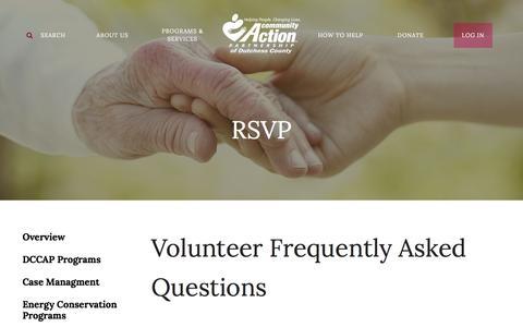Screenshot of FAQ Page dutchesscap.org - Dutchess County Community Action Agency, Inc. : Programs & Services : RSVP : FAQ - captured Feb. 9, 2016