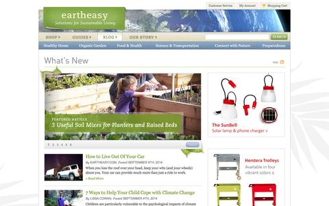Screenshot of Blog eartheasy.com - Blog - Eartheasy.com Solutions for Sustainable Living - captured Sept. 19, 2014