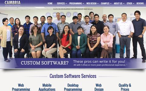 Screenshot of Home Page cambria.com - Custom Software Design, Software Development Services, Custom Software Development Company - captured Oct. 20, 2016