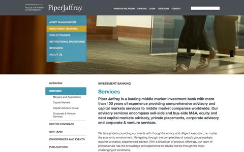 Screenshot of Services Page piperjaffray.com - Investment Banking and Capital Markets - captured March 2, 2017