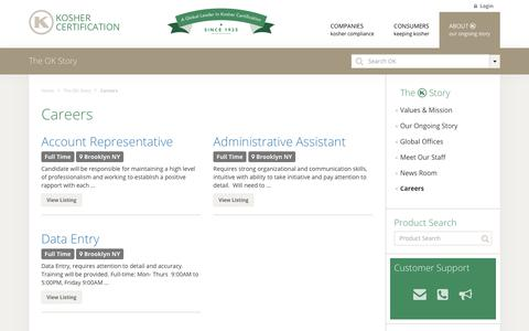 Screenshot of Jobs Page ok.org - Careers - OK Kosher Certification - captured Oct. 19, 2017