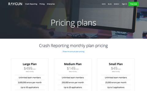 Screenshot of Pricing Page raygun.io - How Much Does Awesome Error Reporting Cost? | Raygun - captured Sept. 27, 2015