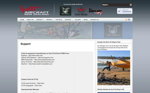 Screenshot of Support Page sportsaircraftanz.com - Support - captured Oct. 6, 2014