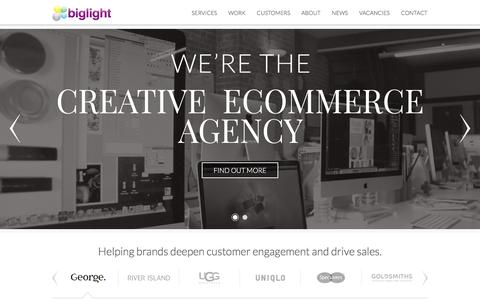 Screenshot of Home Page biglight.co.uk - Biglight - The Creative Ecommerce Agency - captured Jan. 3, 2016