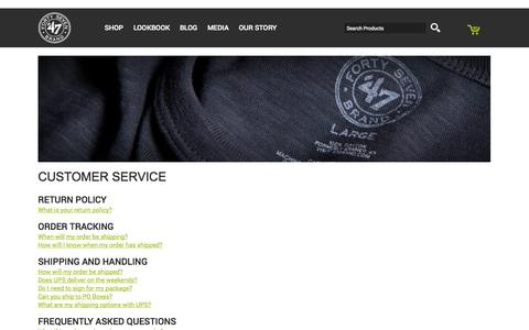 Screenshot of Support Page 47brand.com - '47 Brand : Customer Service - captured Sept. 22, 2014