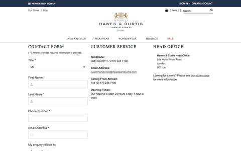 Screenshot of Contact Page hawesandcurtis.co.uk - Luxury Shirts | Online Shirt Store | Hawes & Curtis - captured July 20, 2015