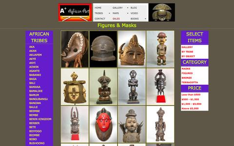 Screenshot of Home Page aplusafricanart.com - AplusAfricanArt.com | AFRICAN TRIBAL MASKS | COLLECTING AFRICAN TRIBAL ART - captured May 14, 2016