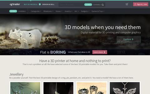 Screenshot of Home Page cgtrader.com - 3D Model Store - CGTrader.com - captured July 10, 2014
