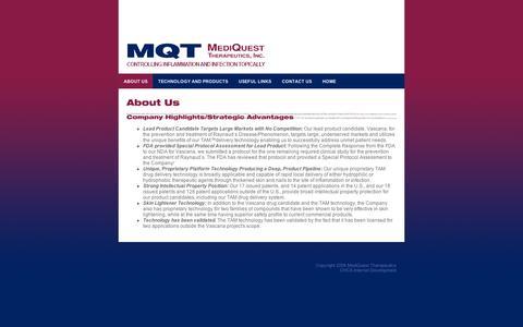 Screenshot of About Page mqti.com - MediQuest Therapeutics - captured Sept. 10, 2014