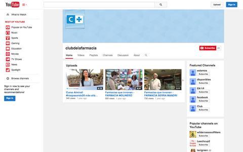 Screenshot of YouTube Page youtube.com - clubdelafarmacia  - YouTube - captured Oct. 22, 2014
