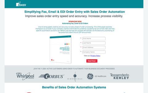 Screenshot of Landing Page esker.com - Sales Order Automation Software   Esker - captured Nov. 2, 2016