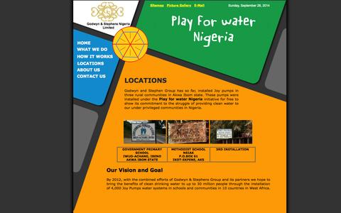 Screenshot of Locations Page playforwaternigeria.org - Locations - Play for water Nigeria - captured Sept. 30, 2014