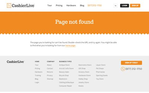 Screenshot of Signup Page Trial Page cashierlive.com - Page Not Found - captured Dec. 12, 2018