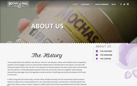 Screenshot of About Page mochasandjavas.com - About Mochas & Javas | Texas-Based Coffee House | San Marcos & Frisco - captured Sept. 20, 2018