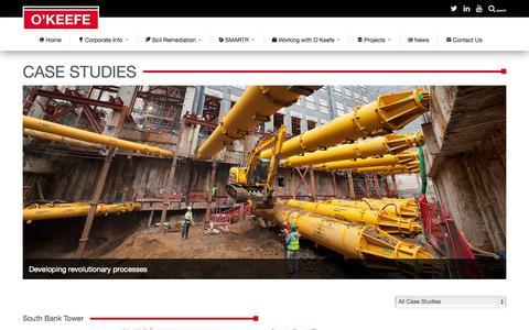 Screenshot of Case Studies Page okeefe.co.uk - Case Studies • O'Keefe - captured Oct. 7, 2014