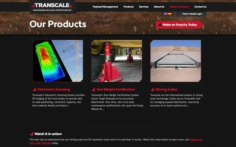 Screenshot of Products Page transcale.com - Our Products | Transcale | Maximising Payload Opportunities | Payload Management, Mining Truck Scales & Scanning - captured Oct. 9, 2014