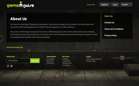 Screenshot of About Page gameguise.com - Gameguise   About Us - captured Sept. 29, 2014