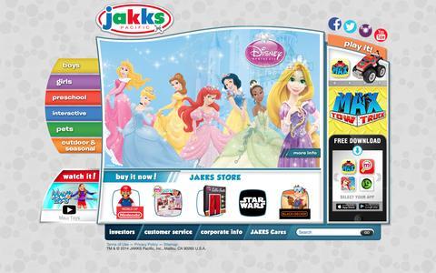 Screenshot of Home Page jakks.com - Home   JAKKS Pacific - captured Feb. 11, 2016
