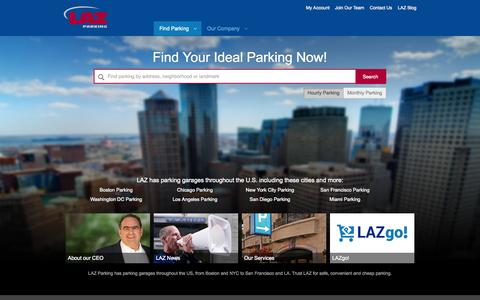 Screenshot of Home Page lazparking.com - LAZ Parking | Reserve Parking Now | Best Parking Garages - captured June 18, 2015