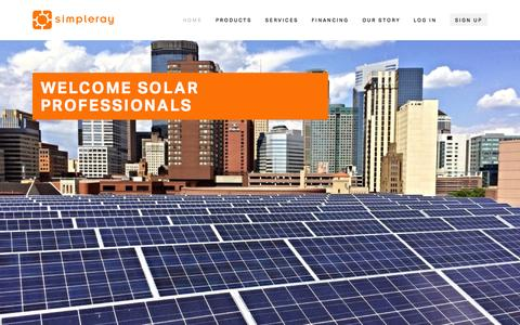 Screenshot of Home Page simpleray.com - SimpleRay Solar - Midwest Solar Distributor - captured Nov. 19, 2015