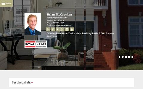 Screenshot of Testimonials Page barrierealty.com - Testimonials - Brian McCracken, Royal LePage First Contact Realty - captured Oct. 18, 2018