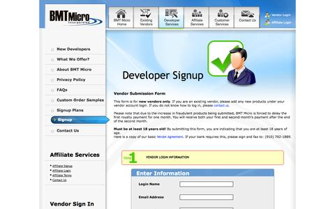 Screenshot of Signup Page bmtmicro.com - Signup Now and accept Credit Cards 24/7 - captured Sept. 24, 2014