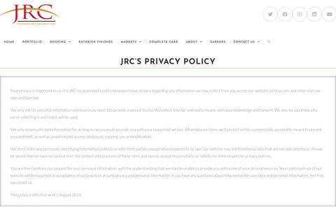Screenshot of Privacy Page jrcinco.com - JRC's Privacy Policy  - JRC - captured Jan. 7, 2020