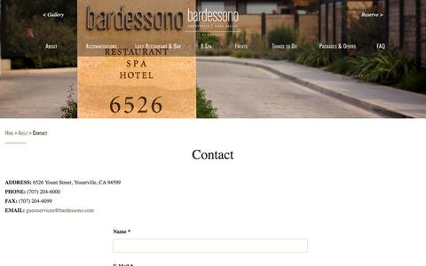 Screenshot of Contact Page bardessono.com - Contact Information for Luxury Yountville Hotel and Spa Bardessono - captured April 14, 2018