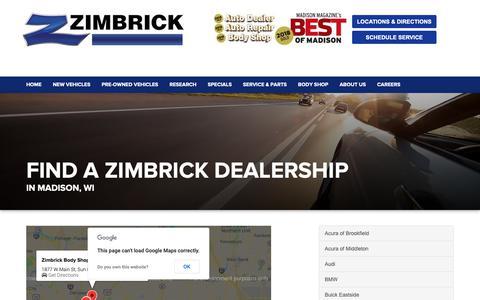 Screenshot of Locations Page zimbrick.com - Find a Zimbrick Automotive Dealership Madison WI | Middleton - captured Oct. 19, 2018