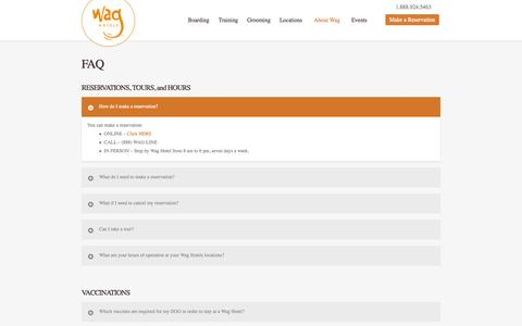 Screenshot of FAQ Page waghotels.com - Wag Hotels |Dog & Cat Hotel Boarding Day Care & Kennel | FAQ's - captured Oct. 27, 2014