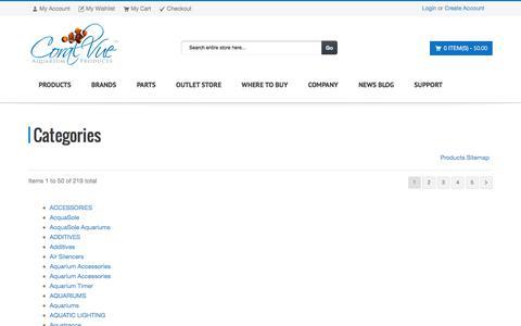Screenshot of Site Map Page coralvue.com - CoralVue    CoralVue Aquarium Products - captured Jan. 18, 2016