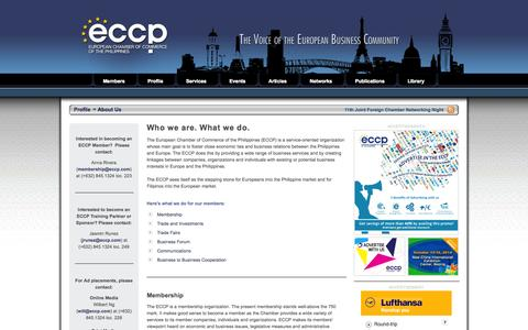 Screenshot of About Page eccp.com - European Chamber of Commerce of the Philippines (ECCP) - captured Oct. 2, 2014