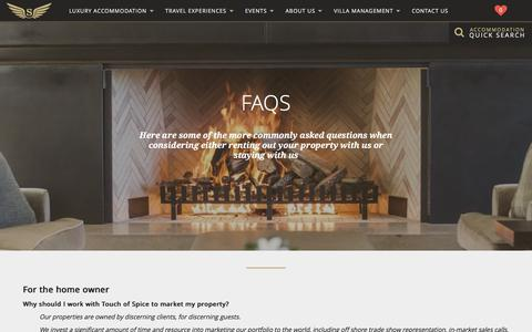 Screenshot of FAQ Page touchofspice.co.nz - Touch of Spice | FAQ's - captured Nov. 7, 2017
