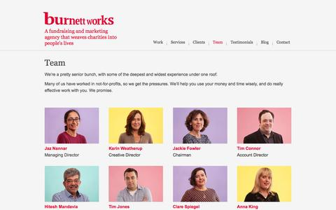 Screenshot of Team Page burnettworks.co.uk - Team - Burnett Works | Burnett Works - captured July 31, 2016