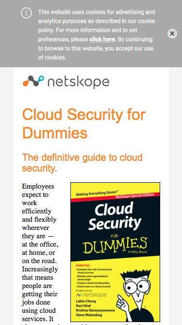 Cloud Security for Dummies - Netskope