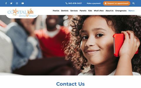 Screenshot of Contact Page coastalkidsdental.com - Contact Us - Coastal Kids Dental - captured Oct. 31, 2018