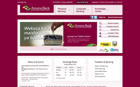 Screenshot of Home Page amanabank.co.tz - Amana Bank | Islamic Bank in Tanzania - captured Sept. 19, 2014