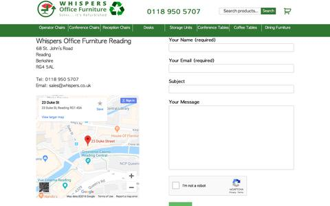 Screenshot of Contact Page whispers.co.uk - Contact Whispers Office Furniture, Reading, for used office furniture - captured Sept. 20, 2018