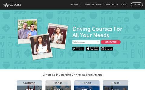 Screenshot of Home Page aceable.com - Drivers Ed & Defensive Driving Online Courses - Aceable - captured Dec. 4, 2015