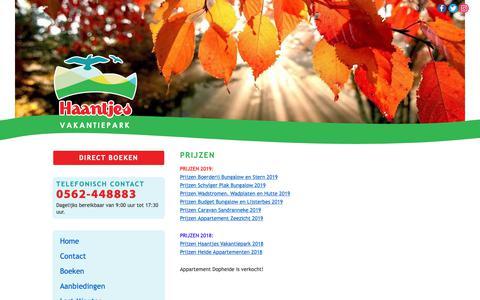 Screenshot of Contact Page haantjes.nl - Prijzen | Haantjes Vakantiepark Terschelling - captured Dec. 13, 2018