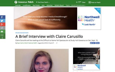 Screenshot of patch.com - A Brief Interview with Claire Carusillo - Gowanus, NY Patch - captured Aug. 27, 2016