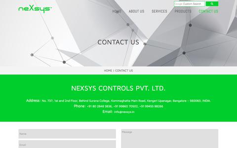 Screenshot of Contact Page nexsys.in - CONTACT US | NEXSYS CONTROLS PVT. LTD. - captured Nov. 12, 2017