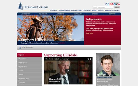 Screenshot of Support Page hillsdale.edu - Support Hillsdale College - Hillsdale College - captured Sept. 19, 2014